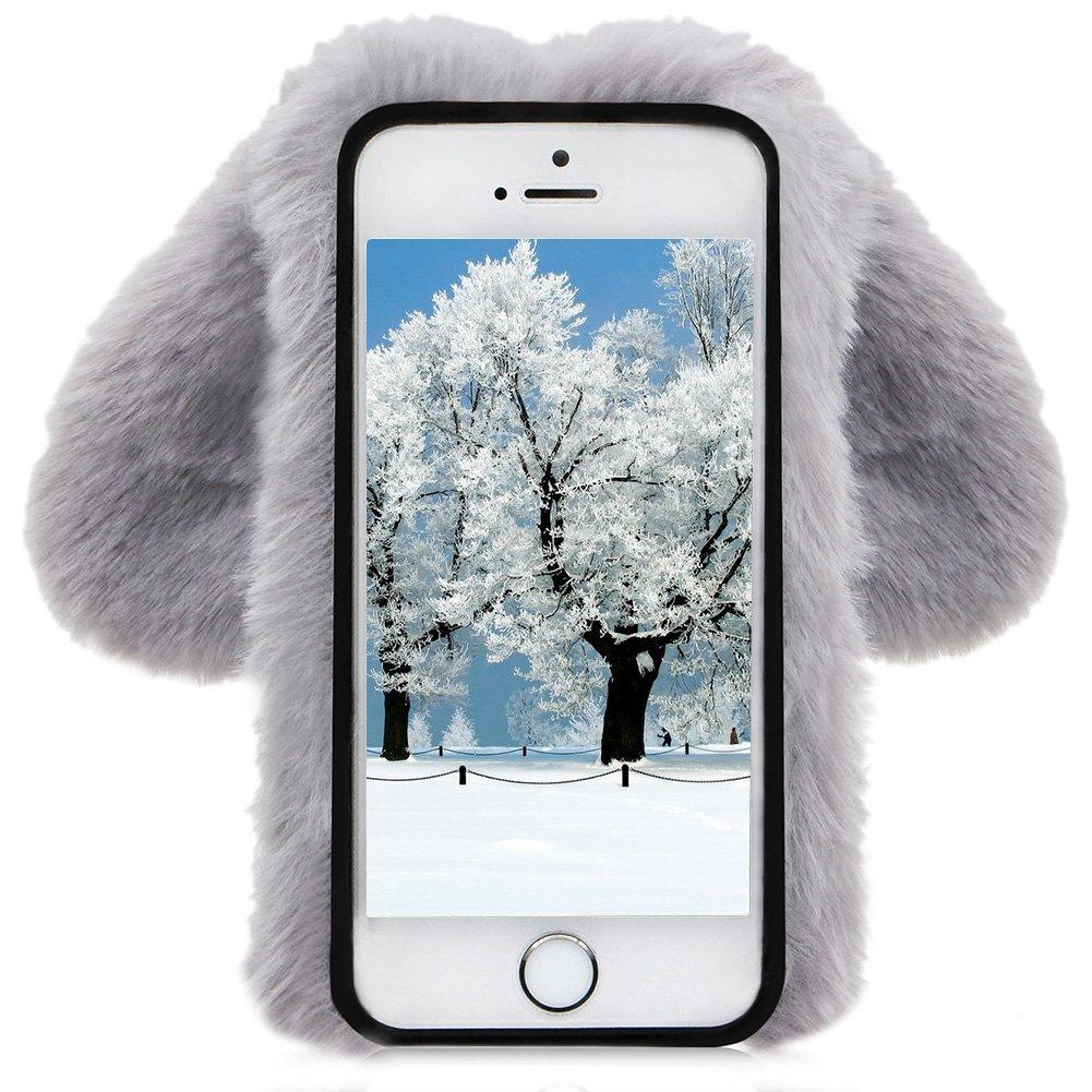 Herzzer Fourrure Gris coque pour iPhone 5